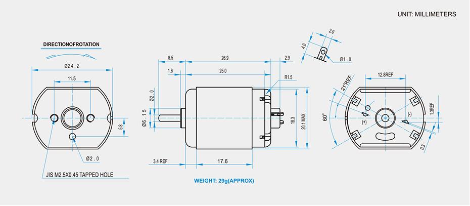 SCFF-260贵金属电刷马达产品介绍